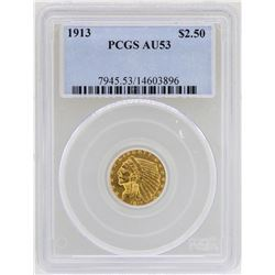 1913 $2 1/2 Indian Head Quarter Eagle Gold Coin PCGS AU53