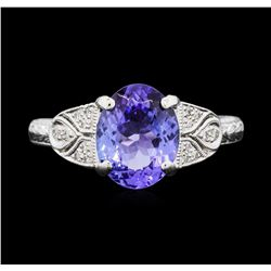 Platinum 2.42 ctw Tanzanite and Diamond Ring