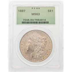 1897 $1 Morgan Silver Dollar Coin PCGS MS63