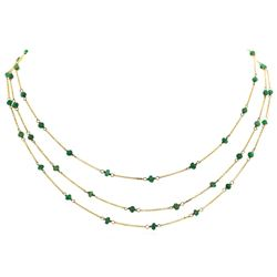 9KT Yellow Gold 5.00 ctw Emerald Three-Strand Necklace