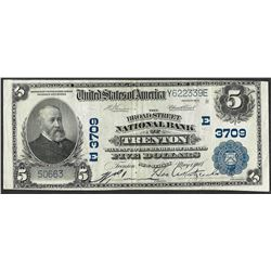 1902 PB $5 Broadstreet NB of Trenton, NJ CH# 3709 National Currency Note