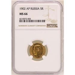 1902-AP Russia 5 Roubles Gold Coin NGC MS66