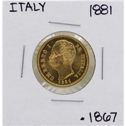 1881-R Italy 20 Lire Umberto Gold Coin