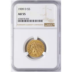 1909-D $5 Indian Head Half Eagle Gold Coin NGC AU55