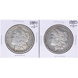 Lot of 1884-S & 1885-S $1 Morgan Silver Dollar Coins