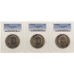 lot of (3) 1976-D Type 3 Eisenhower Dollar Coins PCGS MS65 Type 2