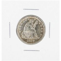 1857 Seated Quarter Silver Coin