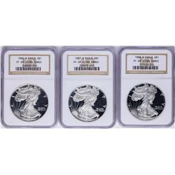 Lot of 1986-S to 1988-S $1 American Silver Eagle Proof Coins NGC PF69 Ultra Came