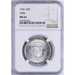 1936 York County, Maine Tercentenary Commemorative Half Dollar Coin NGC MS64