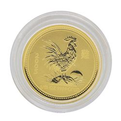 2005 $15 Australia Lunar Year of the Rooster 1/10 oz. Gold Coin