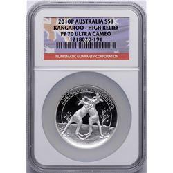 2010P $1 Australia Kangaroo Silver Coin High Relief NGC PF70 Ultra Cameo w/ COA