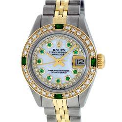 Rolex Ladies Two Tone 14K MOP Diamond & Emerald Datejust Wristwatch