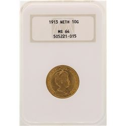 1913 Netherland 10 Gulden Gold Coin NGC MS64