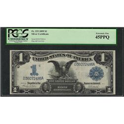 1899 $1 Black Eagle Silver Certificate Note Fr.233 PCGS Extremely Fine 45PPQ