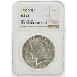 1935-S $1 Peace Silver Dollar Coin NGC MS64