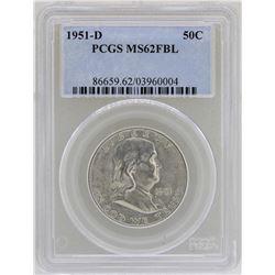1951-D Franklin Half Dollar Coin PCGS MS62FBL