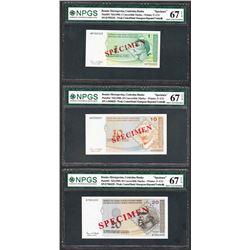 Lot of (3) 1998 Bosnia Central Bank Specimen Notes