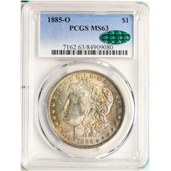 1885-O $1 Morgan Silver Dollar Coin PCGS MS63 CAC AMAZING TONING