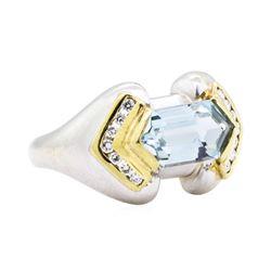 14KT White and Yellow Gold 2.16 ctw Aquamarine and Diamond Ring