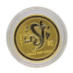 2001 $15 Australia Lunar Year of the Snake 1/10 oz. Gold Coin