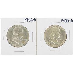 Lot of 1952-D & 1953-D Franklin Half Dollar Silver Coins