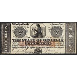 1862 $5 The State of Georgia Milledgeville Obsolete Note