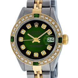 Rolex Ladies Two Tone Green Vignette Diamond Datejust Wristwatch