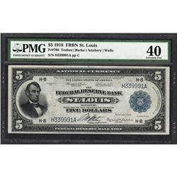1918 $5 Federal Reserve Bank Note St. Louis Fr.796 PMG Extremely Fine 40
