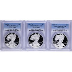 Lot of 2006-W to 2008-W $1 American Silver Eagle Proof Coins PCGS PR69DCAM
