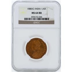 1880C India 1/4 Anna Coin NGC MS64RB