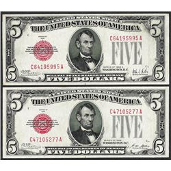 Lot of 1928 & 1928A $5 Legal Tender Notes