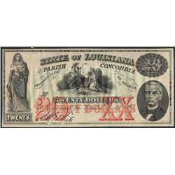 1862 $20 State of Louisiana Parish of Concordia Obsolete Note
