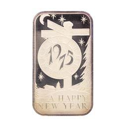 1975 Happy New Year Madison Mint 1 oz .999 Fine Silver Art Bar