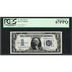 1934 $1 Silver Certificate Note Fr.1606 PCGS Superb Gem New 67PPQ