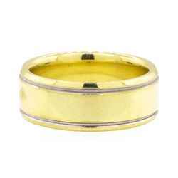 18KT Yellow Gold with Rhodium Detail Men's Band