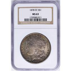 1878-CC $1 Morgan Silver Dollar Coin NGC MS63 Nice Toning