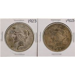 Lot of (2) 1923 $1 Peace Silver Dollar Coins