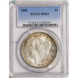 1885 $1 Morgan Silver Dollar Coin PCGS MS63 Great Toning on Reverse