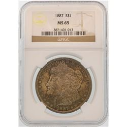 1887 $1 Morgan Silver Dollar Coin NGC MS65 Nice Toning