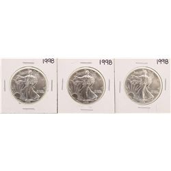 Lot of (3) 1998 $1 American Silver Eagle Coins