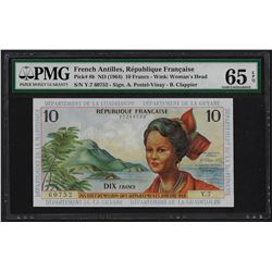1964 French Antilles 10 Francs Note Pick# 8b PMG Gem Uncirculated 65EPQ