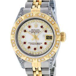 Rolex Ladies Two Tone 14K MOP Ruby & Pyramid Diamond Datejust Wriswatch