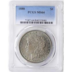 1888 $1 Morgan Silver Dollar Coin PCGS MS64 Nice Toning
