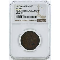 1813 Canada 1/2 Penny WE-2B2 Coin NGC XF40BN