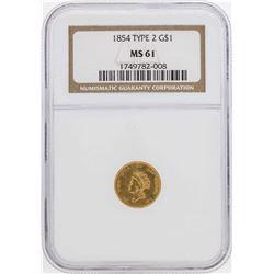 1854 $1 Indian Princess Head Gold Dollar Coin Type 2 NGC MS61