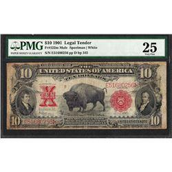 1901 $10 Bison Legal Tender Note Fr.122m PMG Very Fine 25