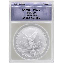 2011-Mo Mexico Libertad Silver Coin ANACS MS70