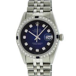 Rolex Men's Stainless Steel Blue Vignette Diamond & Sapphire Datejust Wristwatch