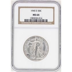 1945-S Walking Liberty Half Dollar Coin NGC MS64
