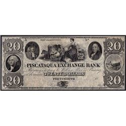 1800's $20 Piscataqua Exchange Bank Obsolete Note